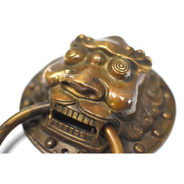 Gold Late 20th Century Vintage Warrior Door Knockers- a Pair For Sale - Image 8 of 13