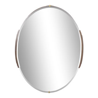 Circa 1930s French Art Deco Frameless Oval Mirror With Carved Wood Accents For Sale
