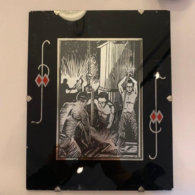 Metal Works Progress Administration Scene Block Print on Silver Paper For Sale - Image 7 of 7