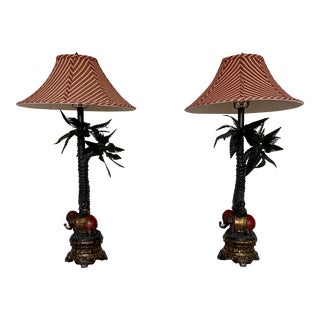 Elephant and Boy Tropical Palm Tree Table Lamps - a Pair For Sale