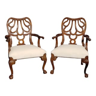 Maitland Smith Style Carved White Velvet Accent Chairs -A Pair For Sale
