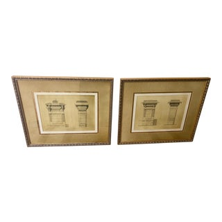 French Neoclassical Gilt Framed Architectural Prints - a Pair For Sale