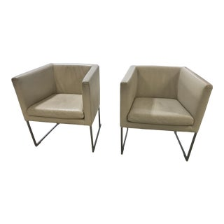 B & B Italia Leather Square Arm Chairs - a Pair