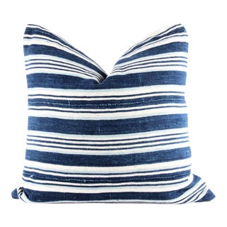 Blue Striped African Mudcloth Pillow