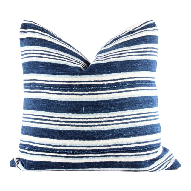 Blue Striped African Mudcloth Pillow - Image 1 of 4