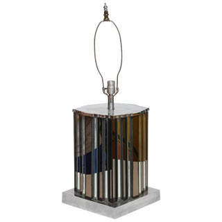 Monumental Art Deco Mirrored Table Lamp, France, 1940s For Sale