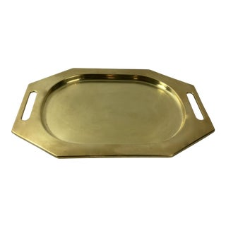 Octagonal Solid Brass Serving Tray For Sale