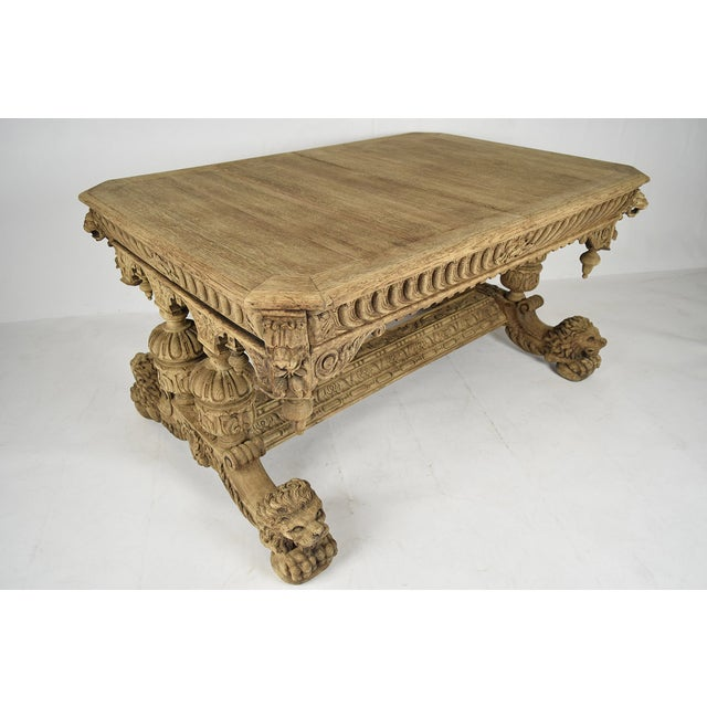 19th-C. French Bleached Oak Library Table - Image 2 of 11