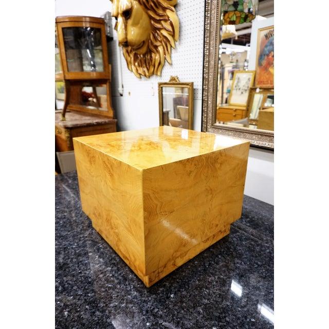Milo Baughman Era Burled Cube Table - Image 6 of 7