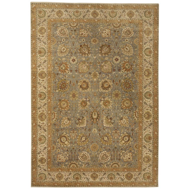 """Hand Knotted Indian Rug - 10'x 14'5"""" For Sale"""