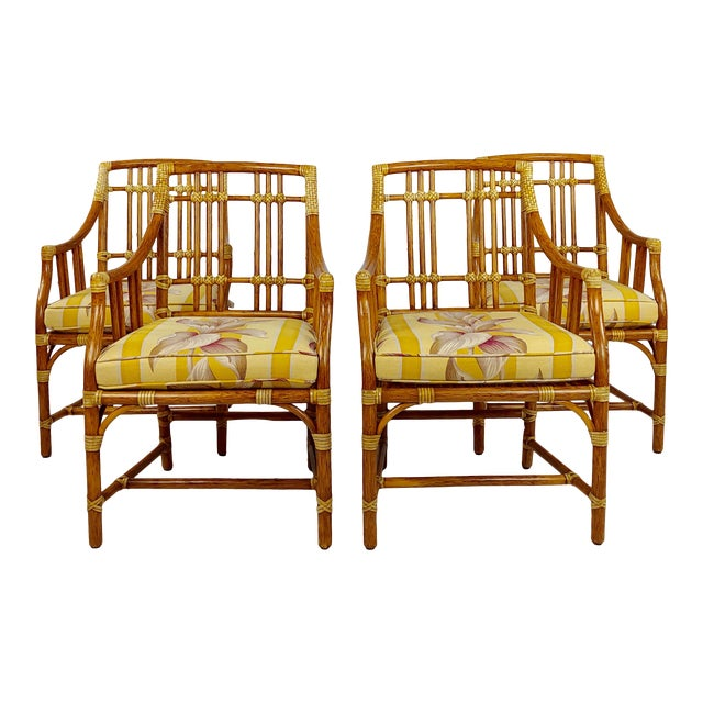 Vintage McGuire Rattan Dining Chairs - Set of 4 For Sale