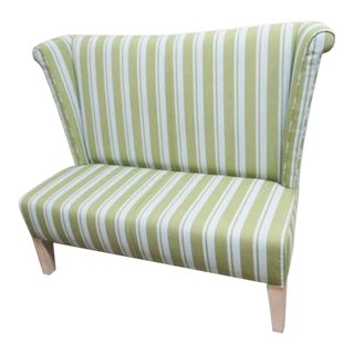 Milo Baughman for Thayer Coggins Stripe Settee High Back Loveseat For Sale