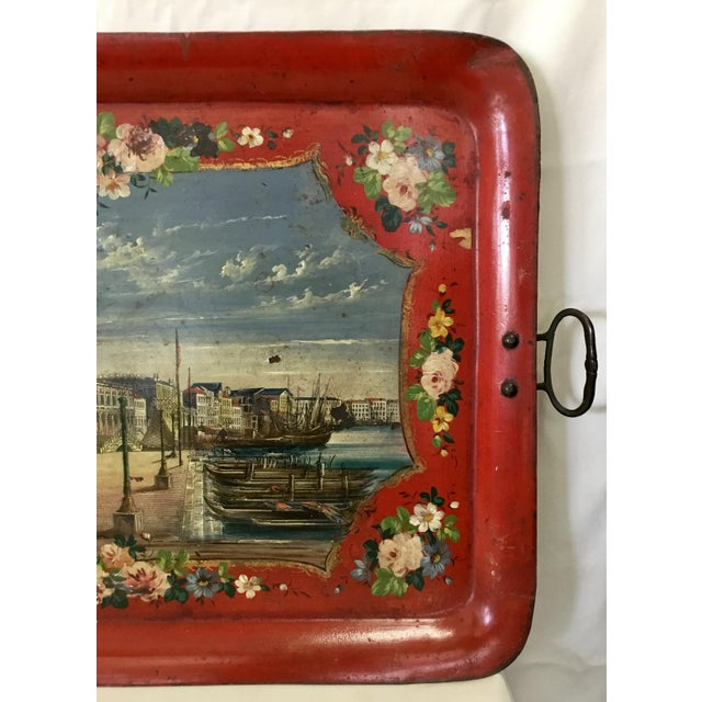 19th Century Tole Tray Featuring a Hand Painted Italian Scene For Sale - Image 4 of 13