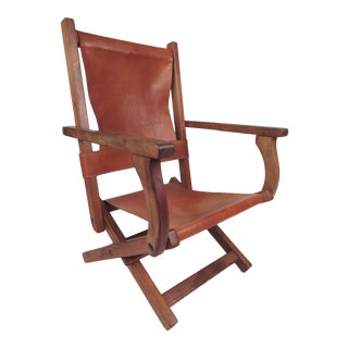 Contemporary Modern Folding Leather Armchair For Sale