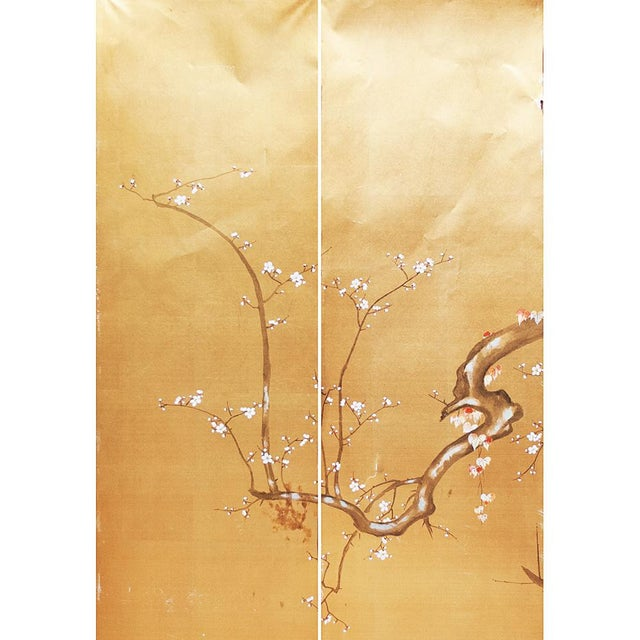 1960s Custom Made in Japan Silk painted panels depicting blossoming sakura. Gouache and watercolor on silk over paper....