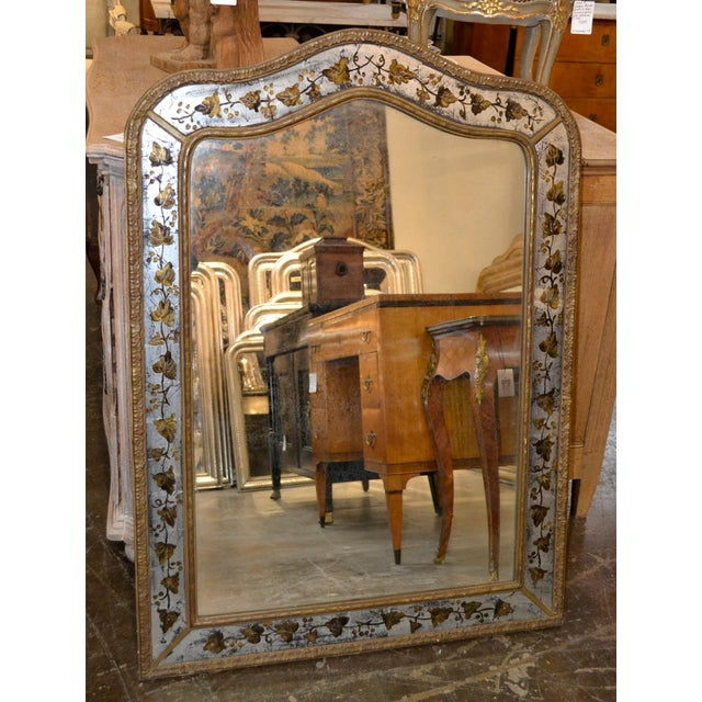 Mid-Century Modern 1940s French Jansen Reverse Painted Mirror For Sale - Image 3 of 7