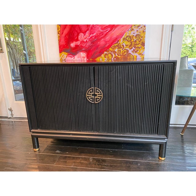 Chinoiserie Tambour Storage Cabinet For Sale - Image 9 of 9