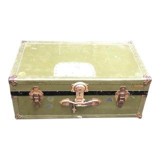 Vintage Green Foot Locker Trunk For Sale