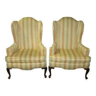 1970s Vintage Ethan Allen Queen Anne Style Wingback Chairs - A Pair For Sale