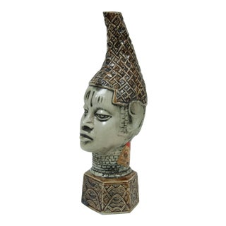 African Benin Queen Mother Commemorative Ceramic Head by the Edo People For Sale
