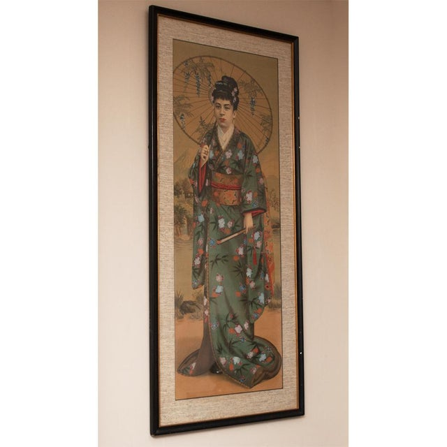Green 1850s Antique Japanese Silk Portrait of a Noble Lady Panel Painting For Sale - Image 8 of 11