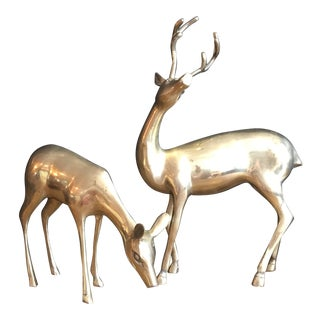 Large Mid Century Solid Brass Buck & Doe Figures For Sale