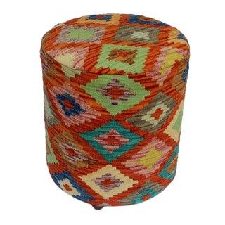 Arshs Danelle Rust/Ivory Kilim Upholstered Handmade Ottoman