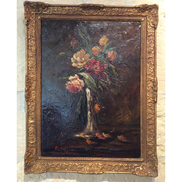 Pair of 1900s Original French Floral Still Life Paintings by Charles Franzini D'Issoncourt For Sale - Image 12 of 12