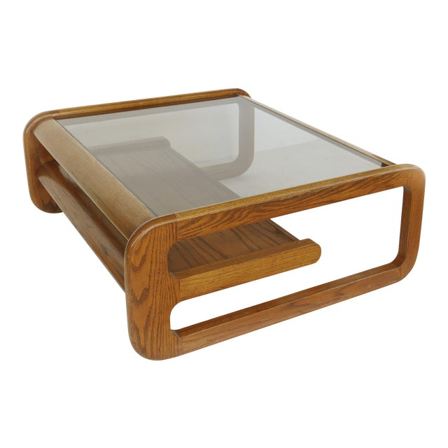 Lou Hodges Mid-Century Modern California Coffee Table With Inset Glass For Sale