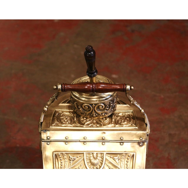 19th Century English Victorian Repousse Brass Coal Bucket With Original Scoop For Sale - Image 4 of 13