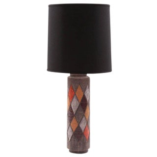 Pair of Whimsical Argyle Lamp by Raymor For Sale