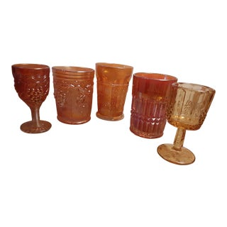 Early 20th Century Amber. Gold Carnival Glass - Set of 5 For Sale