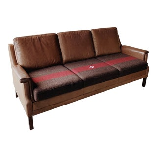 Leather Danish Swiss Army Blanket Sofa For Sale