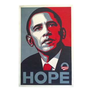 "Rare Shepard Fairey "" Obama Hope "" 2008 Dnc Campaign Iconic Lithograph Print Pop Art Poster For Sale"