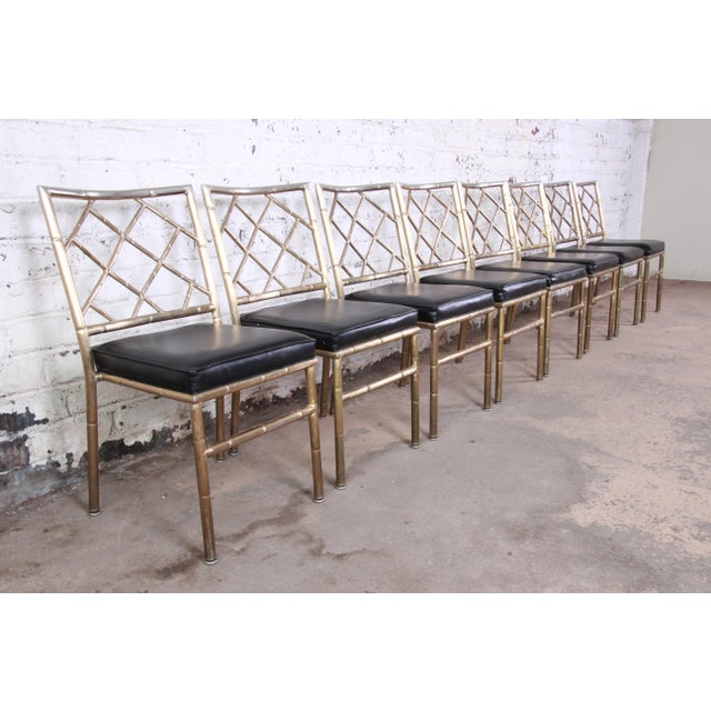 Mid-Century Modern Hollywood Regency Faux Bamboo Brass Dining Chairs - Set of 8 For Sale - Image 4 of 13