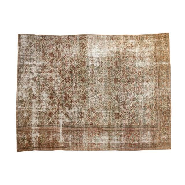 "Vintage Distressed Fragment Mahal Carpet - 7'2"" X 9'6"" For Sale"