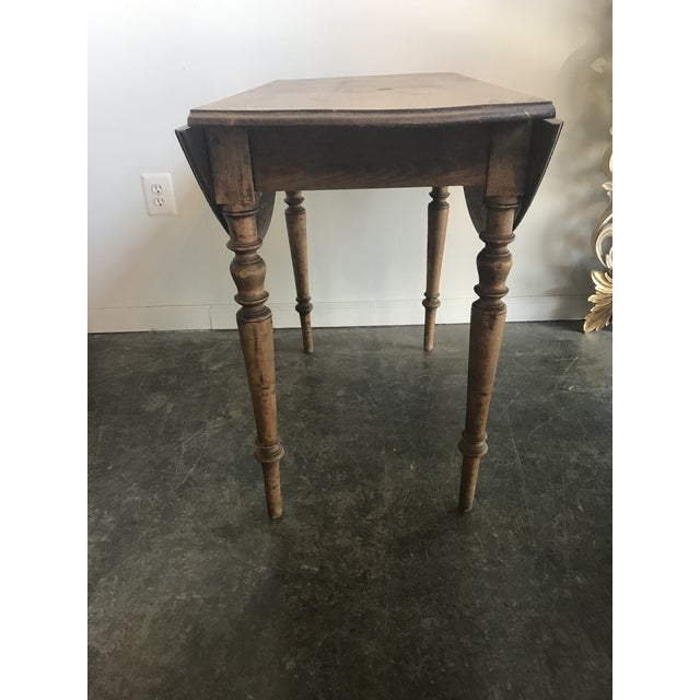 Wood Double Drop Leaf Antique Pine Table For Sale - Image 7 of 9