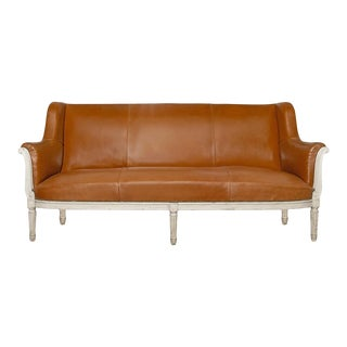 19th Century French Naturally Tanned Leather Settee For Sale