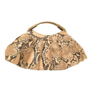 Caprice Python Snake Skin Handbag For Sale