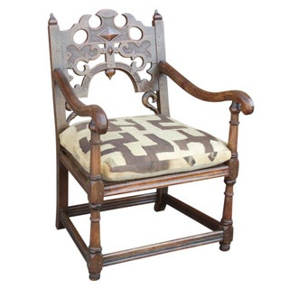 Jacobean Oak English Club Chair For Sale