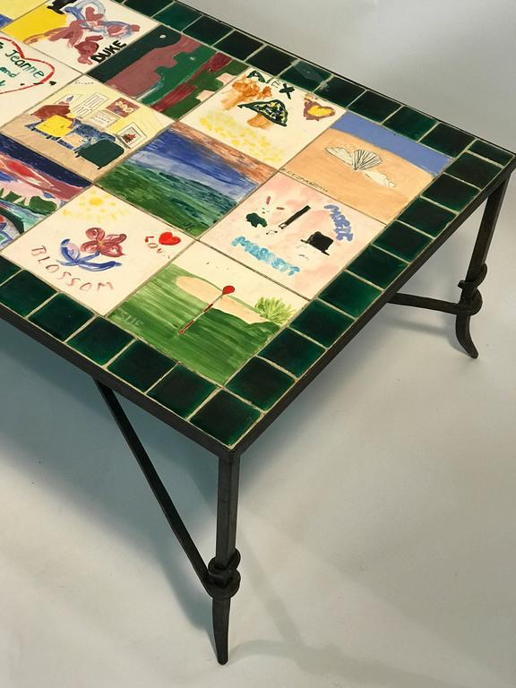 sophisticated whimsical ceramic tile top coffee table with hand