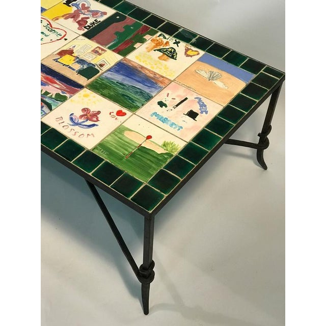 WHIMSICAL CERAMIC TILE TOP COFFEE TABLE WITH HAND-PAINTED NOSTALGIC SCENES For Sale - Image 4 of 8