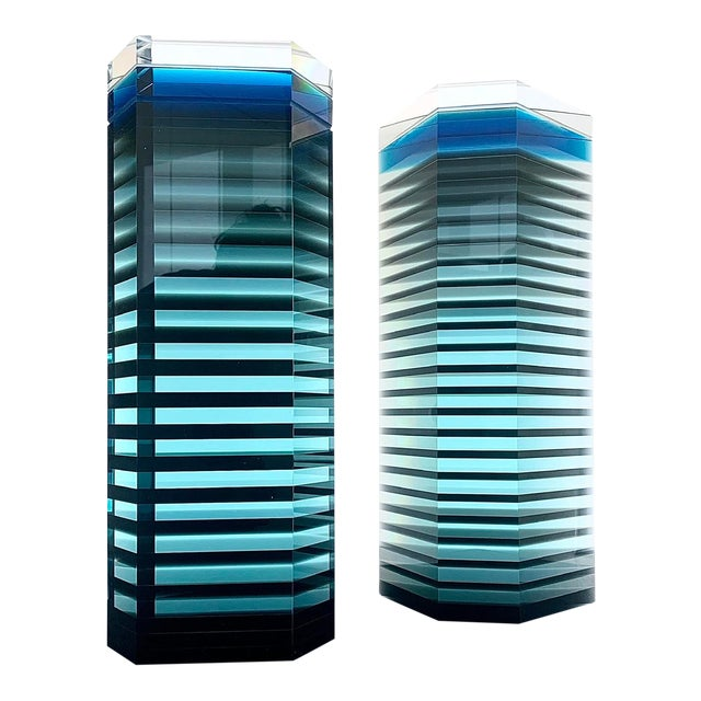 """1980s Patrick Curran Art Glass Sculptures, """"Linear Towers"""" - a Pair For Sale"""