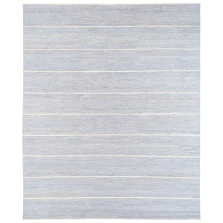 "Tibetan Textured Wool Striped Rug-8'11'x10'11"" For Sale"