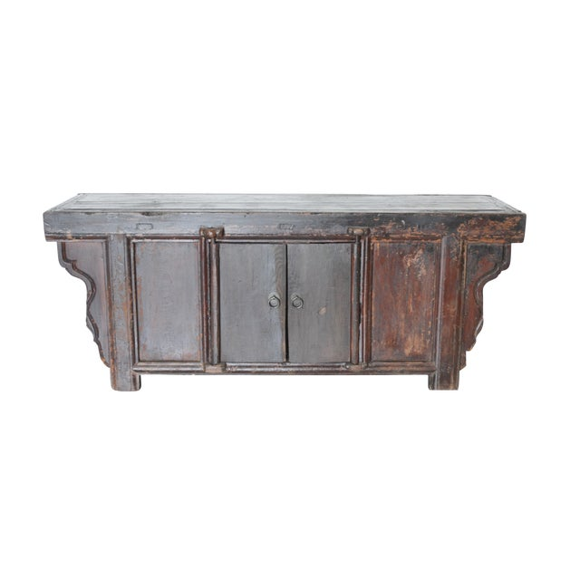 Vintage Rustic Chinese Low Media Cabinet For Sale