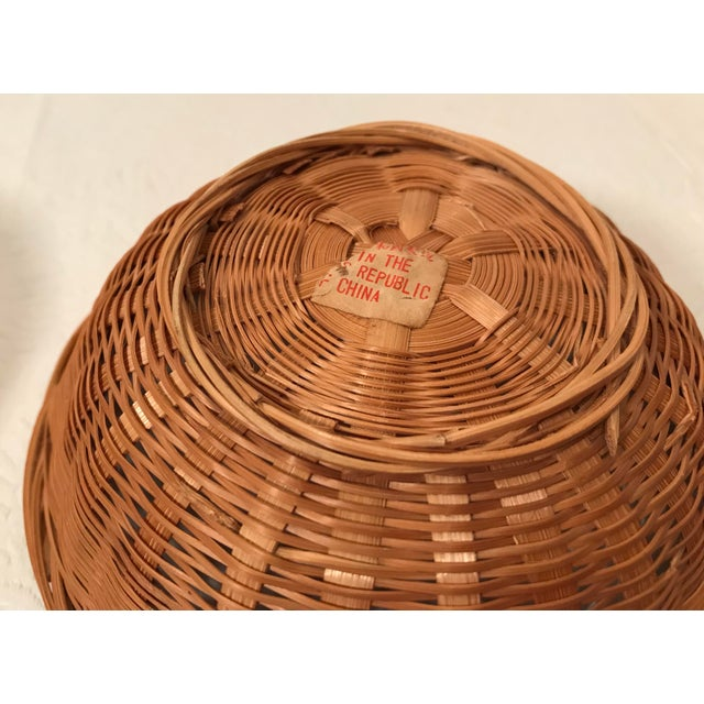 Mid 20th Century Vintage Nesting Baskets - a Pair For Sale - Image 5 of 6