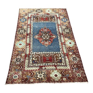 1960s Vintage Turkish Rug - 3′ × 4′11″ For Sale