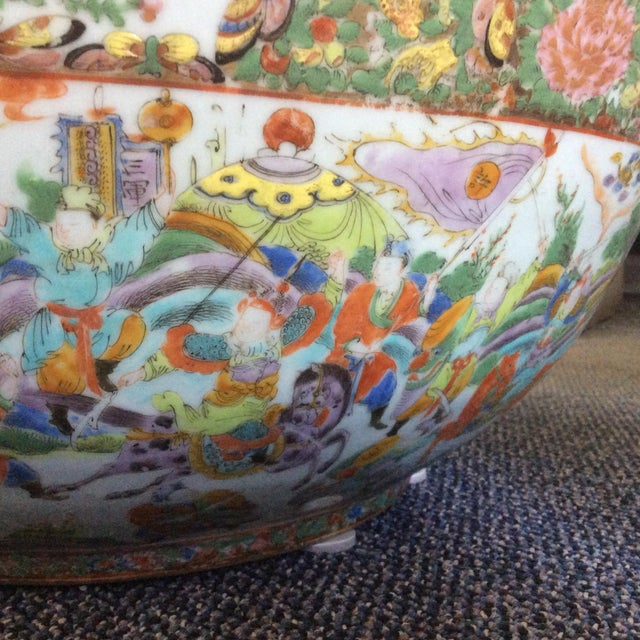 Ceramic Chinese Export Punch Bowl For Sale - Image 7 of 9