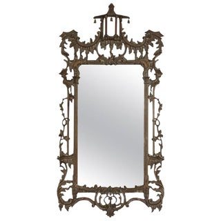 1950s Italian Chippendale Hand-Carved Wood Wall Mirror