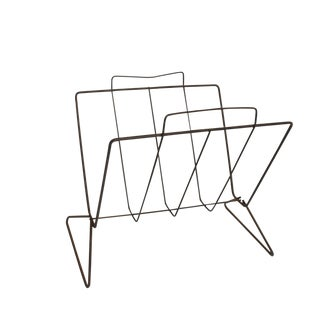 Mid-Century Modern Nelson Era Sculptural Iron Magazine Rack For Sale